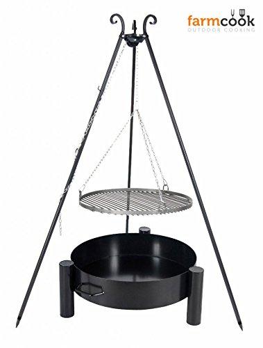 FARMCOOK Schwenkgrill VIKING Dreibein mit Grillrost aus Stahl mit Feuerschale PAN 33 in 4 Größen (Rost Ø 60 cm; Feuerschale Ø 70 cm)