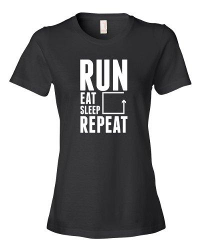 Run Eat Sleep Repeat Tee Shirt Womens S black U