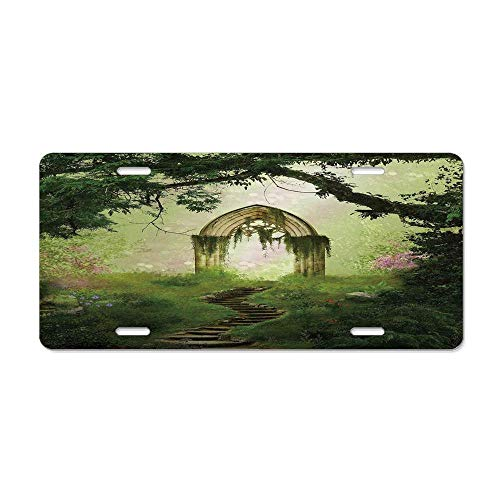 (Kingsinoutdoor Antique,Old Aged Fantasy Gate in Forest Ancient Medieval Gothic Greenery Digital Art,Green Light Green Decorative Custom Front License Plate Cover Car for US Vehicles 12 x 6 in )