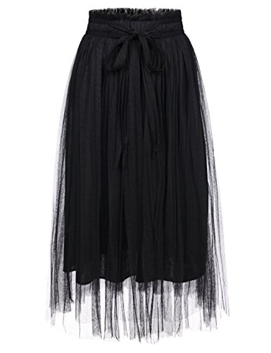 NEARKIN (NKNKWLSK62 Lady Waistband Drawstring 3 Layer Tulle Tutu Midi Skirt Black US L(Tag Size XL)]()