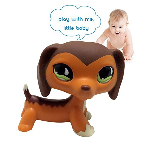 Rare Dachshund Dog big Eye Puppy Littlest Pet Shop Toys Loose Cute Animal Dog Collection Child Girl Boy Figure Toy for Baby Kids Gift Best Christmas Gift Received