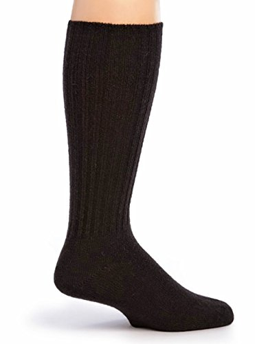 Warrior Alpaca Socks – Women's Ribbed Casual Everyday Alpaca Wool Crew Socks (Black M)