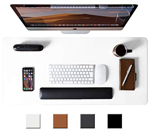 """Leather Desk Pad Protector, Office Desk Mat, 31.5"""" x 15.7"""" Non-Slip PU Leather Desk Blotter, Laptop Desk Mouse Mat, Waterproof Desk Writing Pad Cover for Office and Home (White)"""
