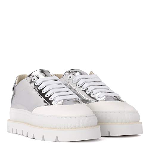 MARGIELA Silver Woman's Mm6 Mm6 Sneaker Laminated Silver MAISON Leather Pqg4xdw47