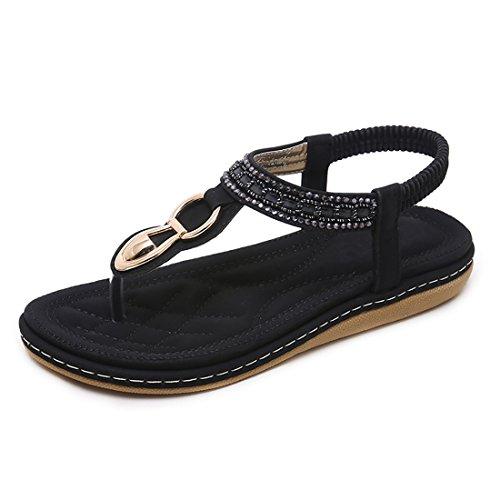 Dames Noir Sandales Les Summer Sandals Femmes Post Bohemian Pour Beach Chaussurespplates Tongs Ruiren 7qawxHa