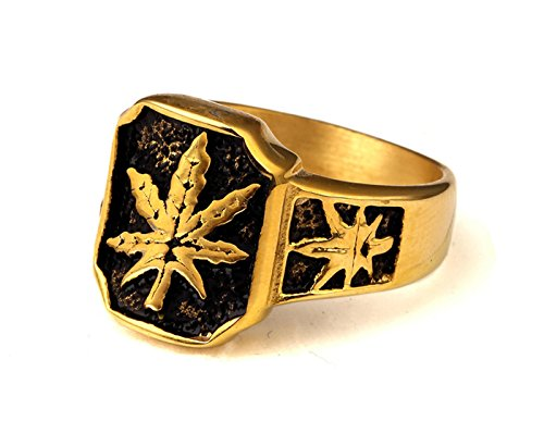 MTFS Unisex Hip Hop Gold Tone Stainless Steel Weed Cannabis Marijuana Leaf Ring Size Available 9-11 (10)