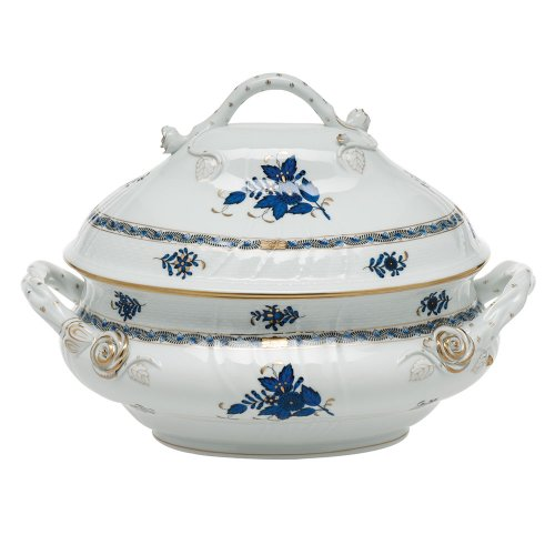 Herend Chinese Bouquet Black Sapphire Porcelain Tureen with Branch