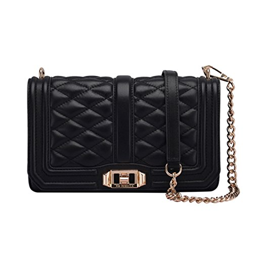 Women's Leather Messenger Bag Mini Chain Bag Adjustable Shoulder Strap Shoulder Bag (black) by zhanxianpiju