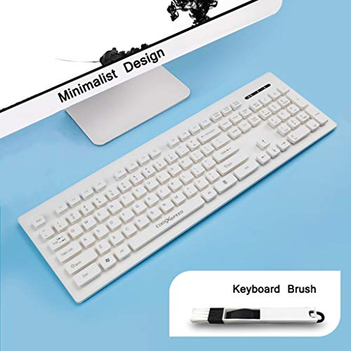 OFNMD Chocolate Wireless Keyboard Office Game Home Ultra-Thin Mute Laptop USB Receiver Macaron Color Series (Color : Ivory White)