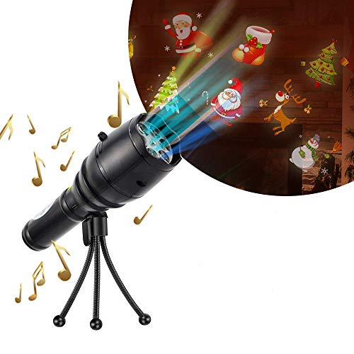 LED Projector Flashlight with Music Portable Handheld Flashlight with 4 Slides,Tripod &Halloween Lights Decoration for Party,Christmas, -