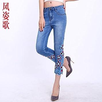 XiaoGao Ocho centavos de Flores Bordadas, Pantalones ...