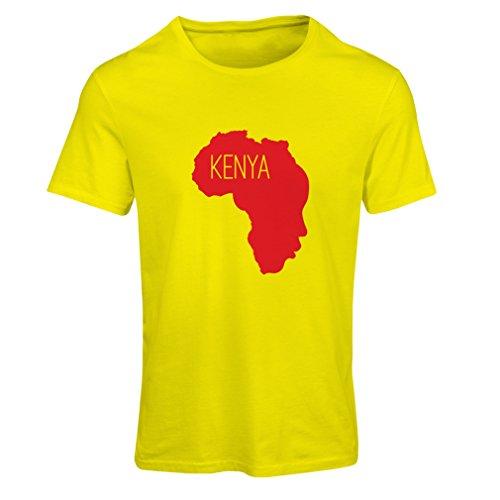 Camiseta mujer Salvar Kenia - camisa política, refranes de la paz Amarillo Rojo