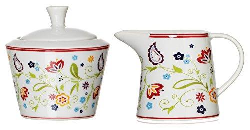 Ritzenhoff & Breker 044997 Zuckerdose und Milchkännchen Set Doppio Shanti, 2-teilig, Geschirr Zubehör, Porzellan , Floral