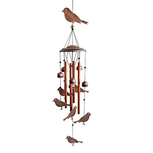 - BLESSEDLAND Bird Wind Chimes-4 Hollow Aluminum Tubes -Wind Bells and Birds-Wind Chime with S Hook for Indoor and Outdoor