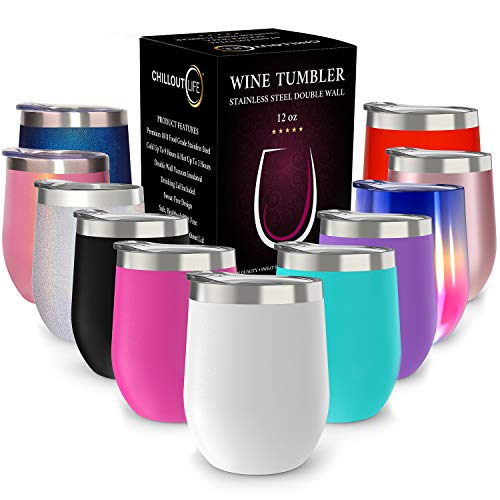 - CHILLOUT LIFE 12 oz Stainless Steel Tumbler with Lid & Gift Box | Wine Tumbler Double Wall Vacuum Insulated Travel Tumbler Cup for Coffee, Wine, Cocktails, Ice Cream, Powder Coated Tumbler