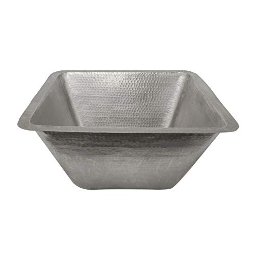 Large Square Hammered Copper Prep Sink in Electroless Nickel