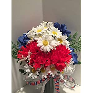 GRAVE DECOR - CEMETERY MARKER - FUNERAL ARRANGEMENT - MEMORIAL - FLOWER VASE - RED CARNATIONS, WHITE DAISIES WITH YELLOW CENTERS, BLUE HYDRANGEAS- MEMORIAL DAY- VETERANS DAY- PATRIOTIC- WAR MEMORIAL 91