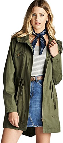 ToBeInStyle Women's Drawsting Waist Hooded Utility Jacket - Olive - (Drawstring Hooded Long Jacket)