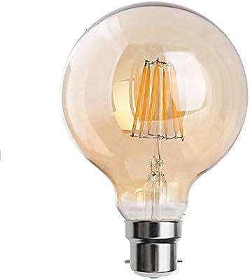 Bombilla LED vintage tipo globo 80/95, estilo Edison, E27/B22, 2800K blanco cálido, filamento largo, bombilla LED de color marrón, cristal dorado ahumado, ...