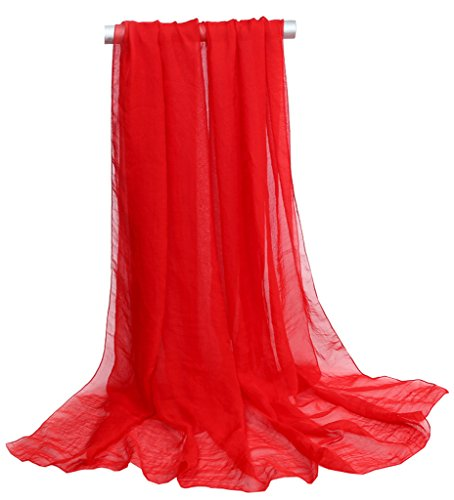 Ouye Women's Soft Chiffon Scarves Red