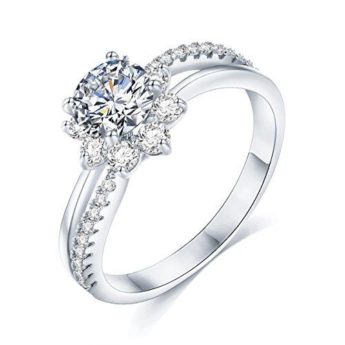 Sego Alchemy 1.00 CT. Round Cut Sunflower Design AAA Cubic Zirconia Sterling Silver/Rose Gold-Plated Bronze Base Engagement Ring Wedding Ring for Women Life Time Warranty for Color Changed