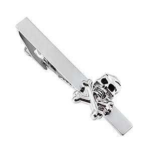 HAWSON Cool Human Skeleton Silver Tie Bar Clip for Man Necktie Accessories