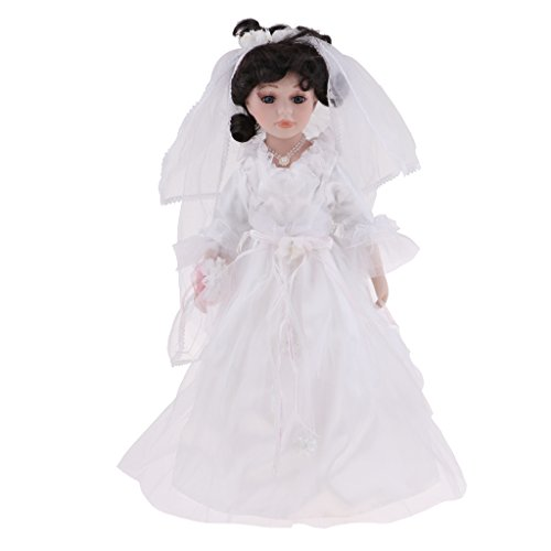(DYNWAVE 16inch Elegant Victorian Porcelain Doll with Wooden Stand, Bridge People Figures in Wedding Dress, Festival Gift Adult Collections)