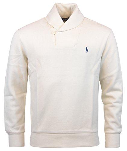 POLO RALPH LAUREN Men\u0027S 2 Button Shawl Collar Sweater, Cream White