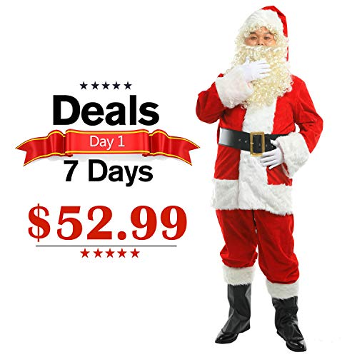 ELFJOY Christmas Santa Suit Plush Classic Santa Claus Costume Set Halloween Cosplay Set of 10 Pcs, Red, X-Large -