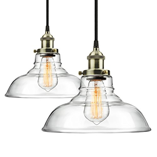 2-Pack Pendant Light Hanging Glass Ceiling Mounted Chandelier Fixture, SHINE HAI Modern Industrial Edison Vintage Style (Kitchen Lighting Fixtures Hanging)
