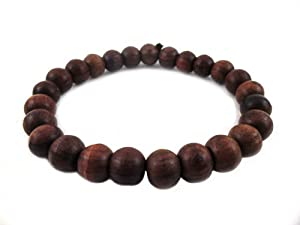 5 X Thai Buddhist Wooden Prayer Blessed Beads Mala Brown color Wristband Bracelet from Thailand
