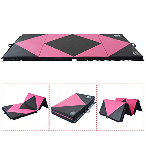 Modern-Depo Gymnastics Mat 4 Panels Folding 4'X8'X2″ With Handle, Hook Loop, Waterproof Cover, 100% EPE Core ( Pink and Black )