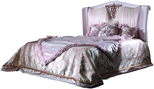 Camas, Bed Mod. Queen Elisabeth, Luxurious Bed with Silver Leaf Decorations