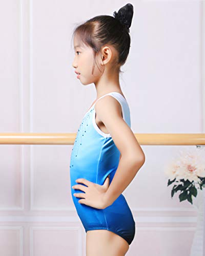 Arshiner Kid Girls Color Gradient Gymnastic Leotard Shiny Diamond Biketard with Shorts