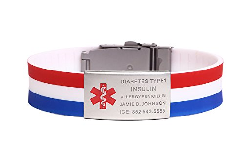 Stainless Steel Rubber Bracelet Medical Alert ID Sports Wristband States Flag Color (Free Engraving)