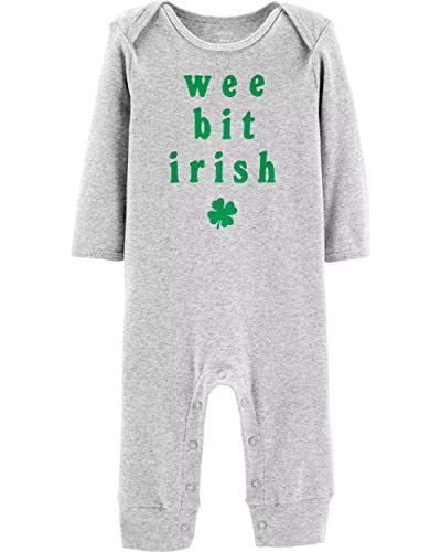 (Carter's Unisex Baby St. Patrick's Day Jumpsuit (6 Months, Grey/Green) )