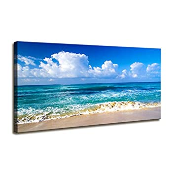 Blue Beach theme Modern Stretched and Framed Seascape 1 Panels Giclee Canvas Prints Artwork Landscape Pictures Paintings on Canvas Wall Art for Home Decor And Offoce Decorations 20 x40 inch x 1 Pcs