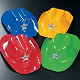 Plastic Bright Color Cowboy Hats (12 ct) (12 per package) by OTC
