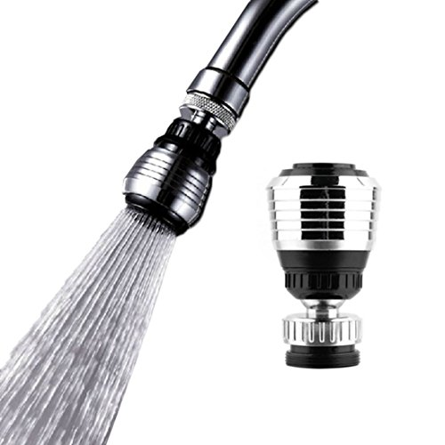 BG-Style Water Tap Bubbler Water-Saving Faucet Swivel Water Saving Nozzle Kitchen Faucet Nozzle Diffuser Faucet Silver & Black