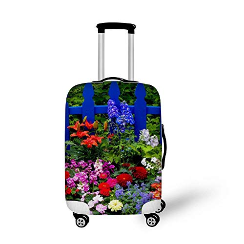 Multicolored Summer Flowers Fashionable Baggage Suitcase Protector Travel Luggage Cover Anti-Scratch