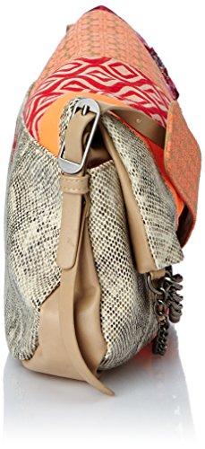 Desigual - Bols New Folded Jaquard, Borsa a tracolla da donna, marrone(marron (6062 beige roto)), taglia unica