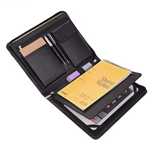 (iPad Portfolio Case with Notepad Holder, Zippered Leather Portfolio Folder Case for 9.7 iPad and A5 Notepad)