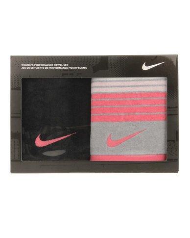 Nike entrenamiento juego de toallas (negro/Spark rosa y lobo gris/Spark rosa
