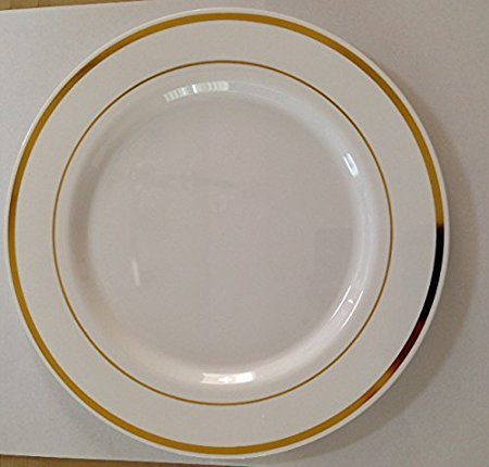 Service Band Plate (White w/ Gold Band Plastic Plates and Cutlery (80))