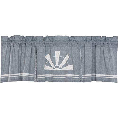 (VHC Brands Farmhouse Kitchen Curtains Sawyer Mill Windmill Rod Pocket Cotton Hanging Loops Stenciled Chambray Graphic/Print 20x72 Valance, Denim Blue)