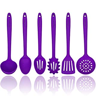 Purple Silicone Cooking Utensils Set – Sturdy Steel Inner Core – Spatula, Mixing & Slotted Spoon, Ladle, Pasta Server, Drainer – Heat Resistant Kitchen Tools - Bonus Recipe Ebook