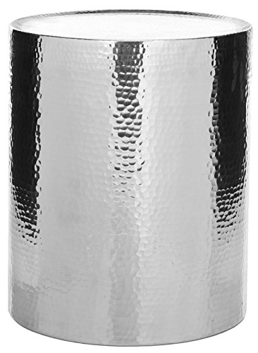 20.9 in. Accent Table in Silver (Silver Table Drum)