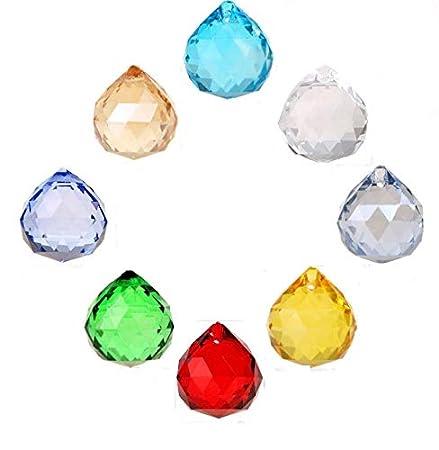 H & D 8PCS 20mm multicolore colore naturale sfera di cristallo prismi lampadario gocce per wedding & home Decoration ciondolo