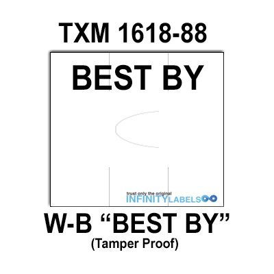 200,000 X-Mark 1618 compatible ''Best By'' White General Purpose Labels to fit the TXM 1618-88 Price Guns. Full Case. by Infinity Labels
