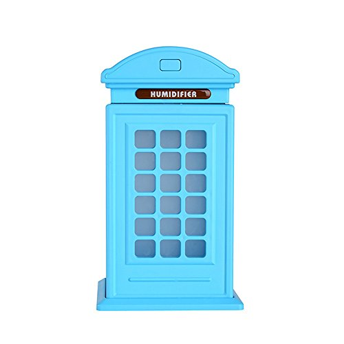 Portable Multi Functional Fan & Air Cinditioner, Elevin(TM) Creative Telephone Booth Humidifier Large Capacity Humidifier Retro Art Ornament (Blue)